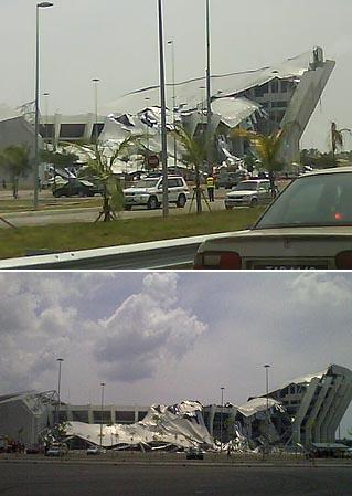Keadaan Stadium Sultan Mizan Zainal Abidin yang runtuh